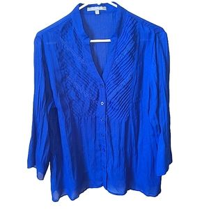 Royal blue long sleeve blouse with ruffle design